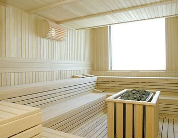 Wooden Hemlock Cedar Sauna Steam Room Solid Wood For 2 / 4 Person